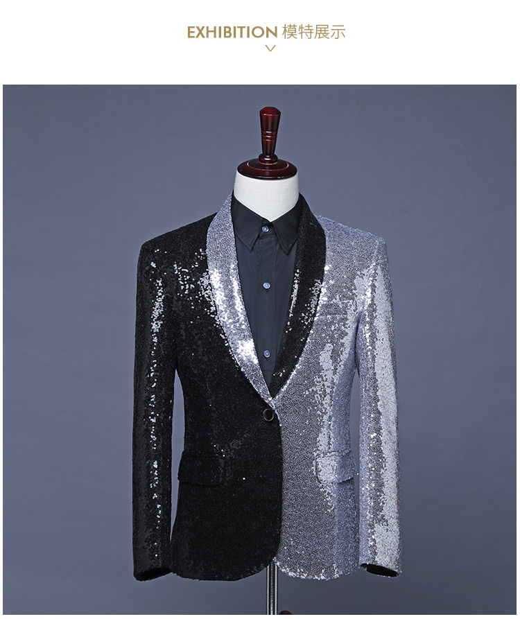 Freeship Half Silver Half Black Sequined Mens Bar/club/tuxedo Jacket/stage Performance,only Jacket/Asia Size