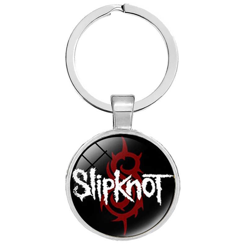 Punk Rock banda Slipknot llavero SLIPKNOT símbolo impreso cristal cabujón insignia llavero para Mujeres Hombres Fans joyería de recuerdo
