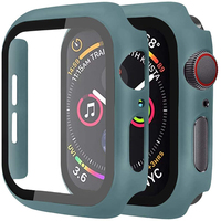 Protector de pantalla de cristal + cubierta para Apple Watch, 44mm, 40mm, 42mm, 38mm, accesorios de parachoques para Apple Watch series 5 4 3 SE 6