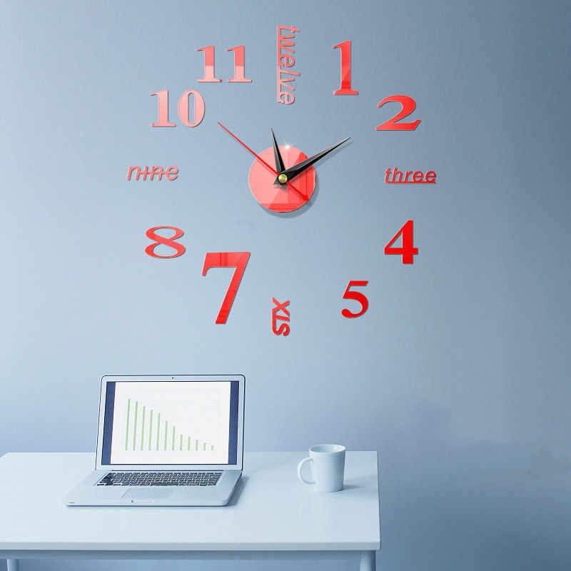 شاشة ديجيتال كبيرة المنزل استخدام الفن الحديث الأوروبي نمط ساعة حائط ثلاثية الأبعاد ملصقات بسيطة الاكريليك مرآة لتقوم بها بنفسك اكسسوارات ساعة