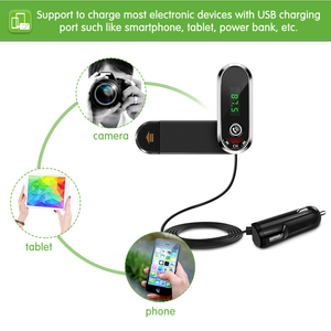 Image 5 - มัลติฟังก์ชั่ผู้ถือโทรศัพท์ Fast USB Charger FM Transmitter เสียง MP3 บลูทูธรถชุดแฮนด์ฟรี Mic สำหรับสมาร์ทโฟน