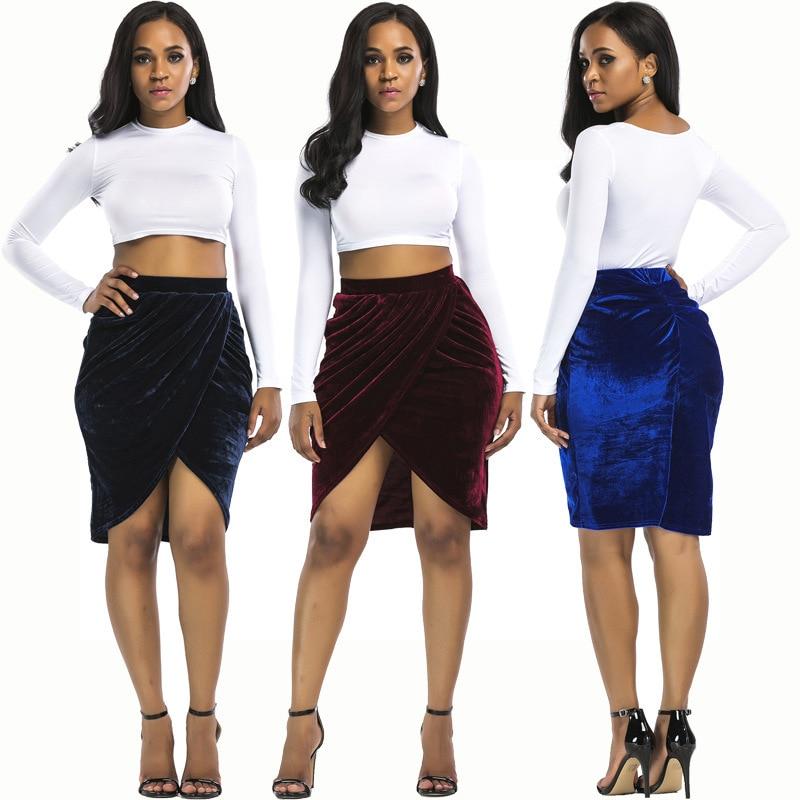 Europe And America Station Wish AliExpress New Style Nv Zhuang Qun Gold Velvet Sexy Versatile Sheath Half-length Short Skirt R72