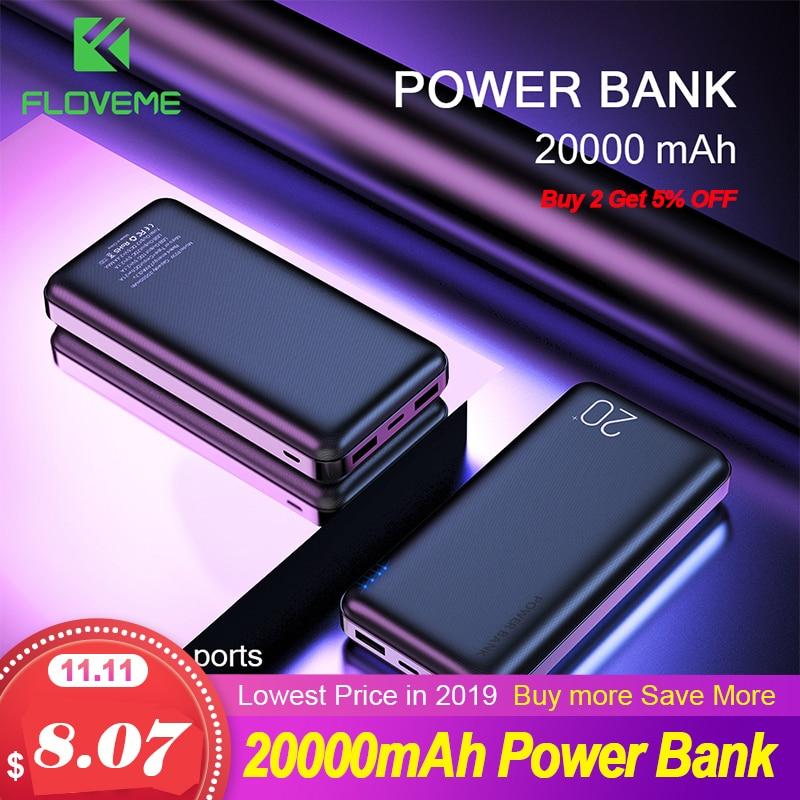 Floveme banco de potência 20000 mah duplo usb carregador de telefone bateria externa carregador portátil bateria externa inteligente banco de potência 10000mah