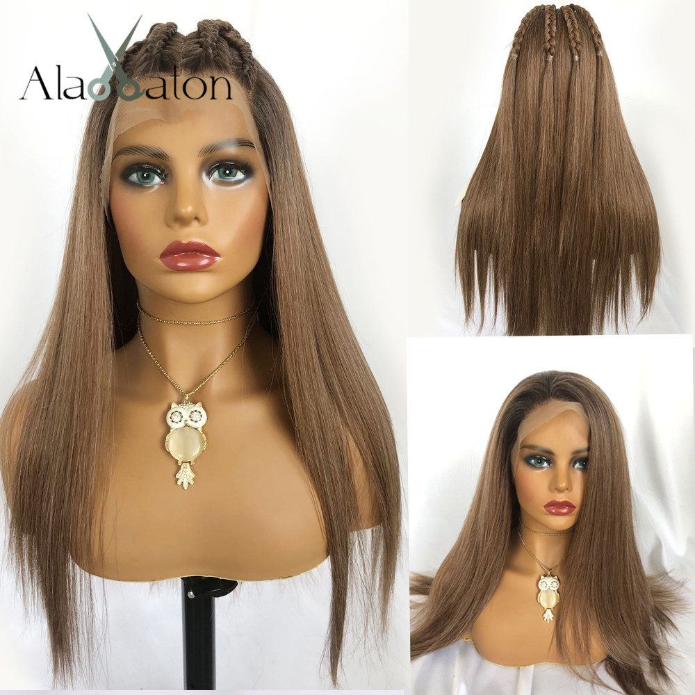ALAN EATON Long Silky Straight Wig Ombre Brown 13x6 Big Lace Free Part 100% Futura Heat Resistant Hair Synthetic Lace Front Wigs