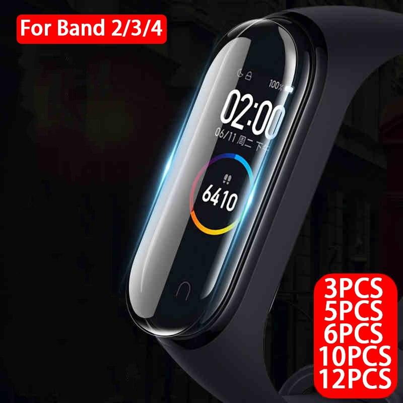 3/5/6/10/12pcs Full Screen Protector For Xiaomi Mi Band 4 3 2 Soft Protective Film Xiomi Mi Band2 Band3 Band4 Not Tempered Glass