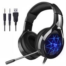 NUOXI Del Computer Gaming Headset Profonda Bass Stereo Gioco Per Computer Cuffie con microfono HA CONDOTTO LA Luce PC Professionale Gamer