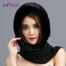 ENJOYFUR Natural Real Mink Fur Hat Scarf Elegant Warm Winter Hats For Women Classical Russian Style Quality Fur Female Beanies
