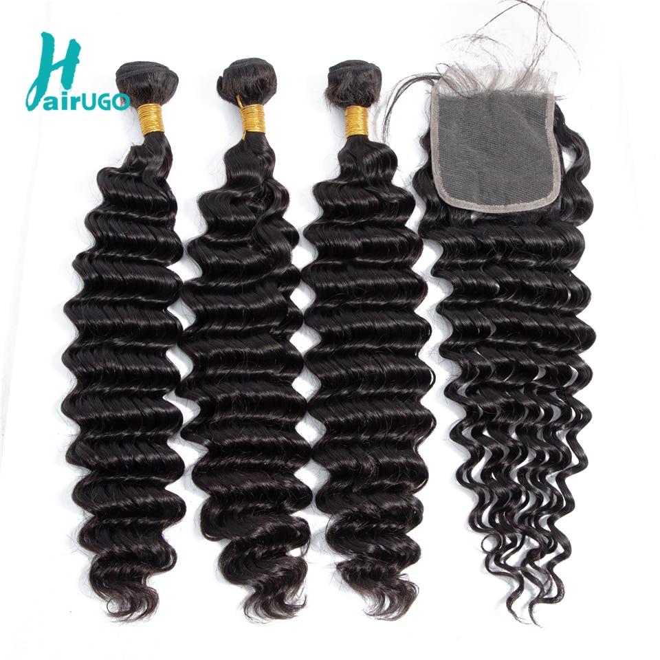 HairUGo Peruvian Hair Deep Wave Weave Bundles With Closure 100% Non Remy Human Hair Bundles With Closure Double Weft Hair