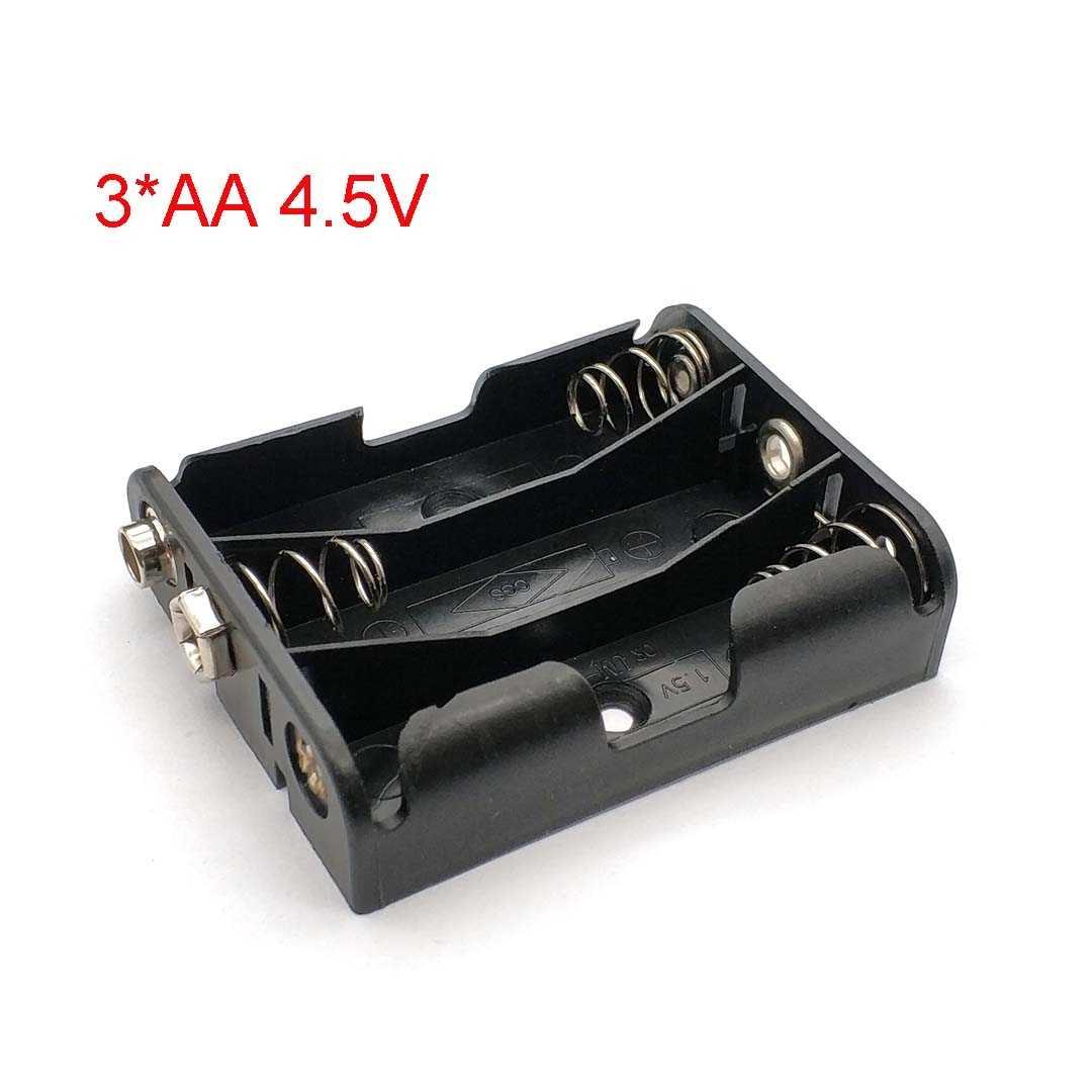 4.5V امدادات الطاقة 3 * aa البطارية حامل صندوق تخزين مع 9V إيجابية و سلبية مشبك ل 3 قطعة بطاريات AA الأسود