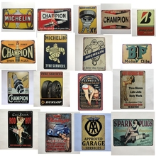 [Luckyaboy] Champion Bridgeston Motorsport Tyre Service Hot Rod Garage Vintage Metal Retro Tin Sign Bar Cafe Home Decor