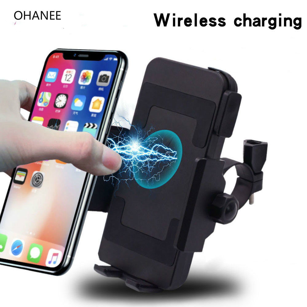 OHANEE 2019 Motorcycle Phone Holder Qi Wireless Charger Moto Charger Mount For Phones Fast Wireless Charge Moto Accessories