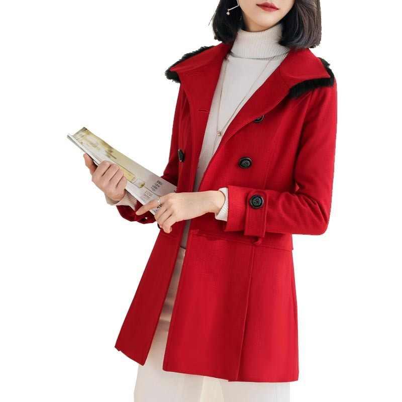 Lange Wolle Mantel Herbst Winter Jacke Frauen Fuchs Pelz Kragen Koreanische Dünne Rot Damen Mäntel Abrigos Mujer Elegante ED-514