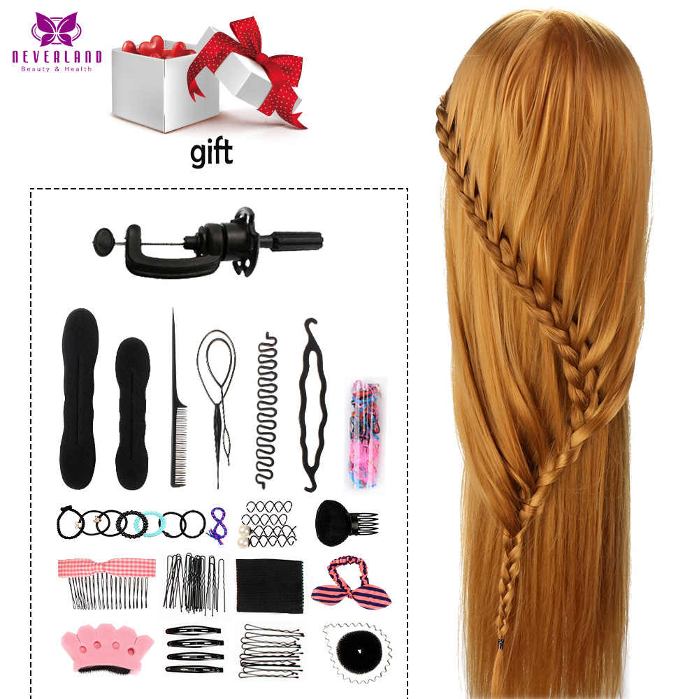 75cm cabelo cabeleireiro cabeça manequim 100% fibra de alta temperatura cabeça cabelo boneca manequim com braçadeira pentes conjunto para ondulação trança