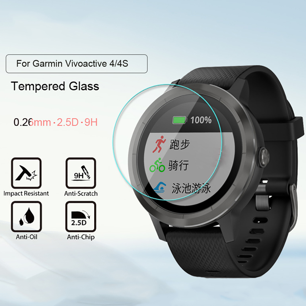 Full Cover Protective Tempered Glass For Garmin Vivoactive 4 4S Smart Watch Protection  Premium Screen Protector Film