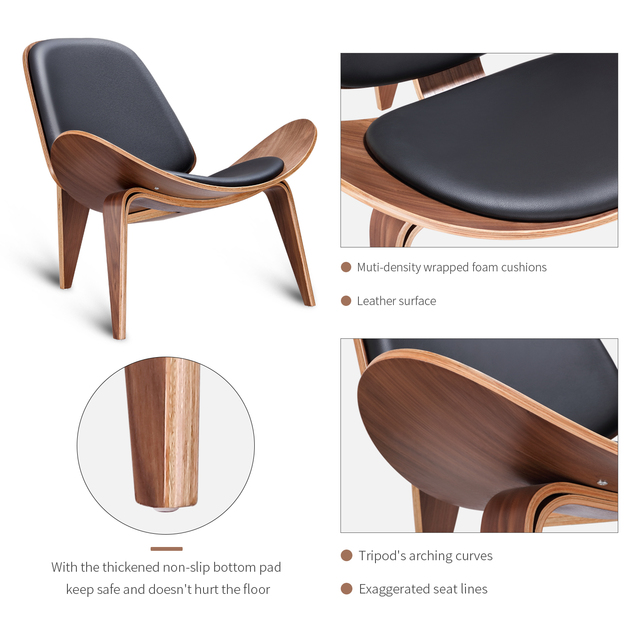 Furgle Mid Century Lounge Chair Replica Shell Chair Modern Tripod Plywood Lounge Chair 3 Wood Colors with Black Leather Chairs 3