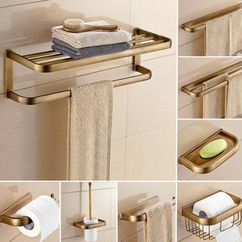 Antique Brass Square Bathroom Hardware Sets Bath Accessories Wall Mounted Paper Towel Holder Bath Towel Bar Rack Kxz004 solid brass bathroom towel rack single bar carved holder antique brass bathroom towel holder wall mounted
