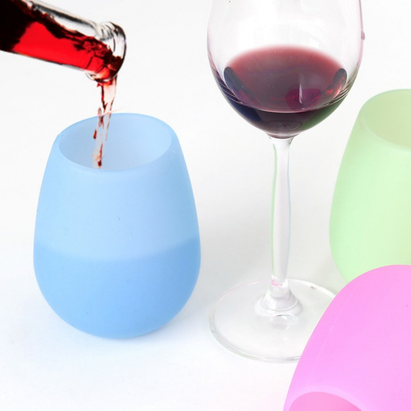 5 PCS Outdoor BBQ Silicone Wine Glasses Practical Foldable Unbreakable Beer Cups Drinkware for Picnic in Hip Flasks from Home Garden
