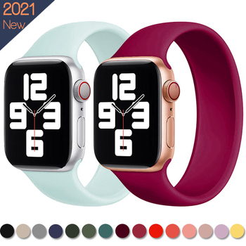Strap for Apple Watch 5 Band 40mm 44mm for iWatch serie 4/5/6/SE Elastic Belt Silicone Solo Loop for Apple watch band 42mm 38mm 1