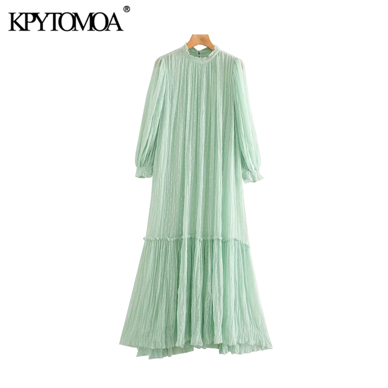 KPYTOMOA Women 2020 Chic Fahsion With Lining Ruffled Midi Dress Vintage High Collar See Through Sleeve Female Dresses Vestidos