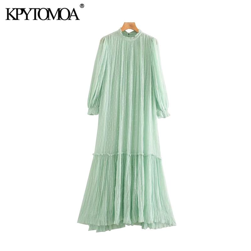 KPYTOMOA Women 2020 Chic Fahsion With Lining Ruffled Midi Dress Vintage High Collar See Through Sleeve Female Dresses Vestidos