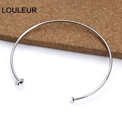 2pcs/lot Stainless Steel Open Bracelets Bangles Settings Cabochon Base Bezel Trays Fit Round Beads DIY Jewelry Making Fin