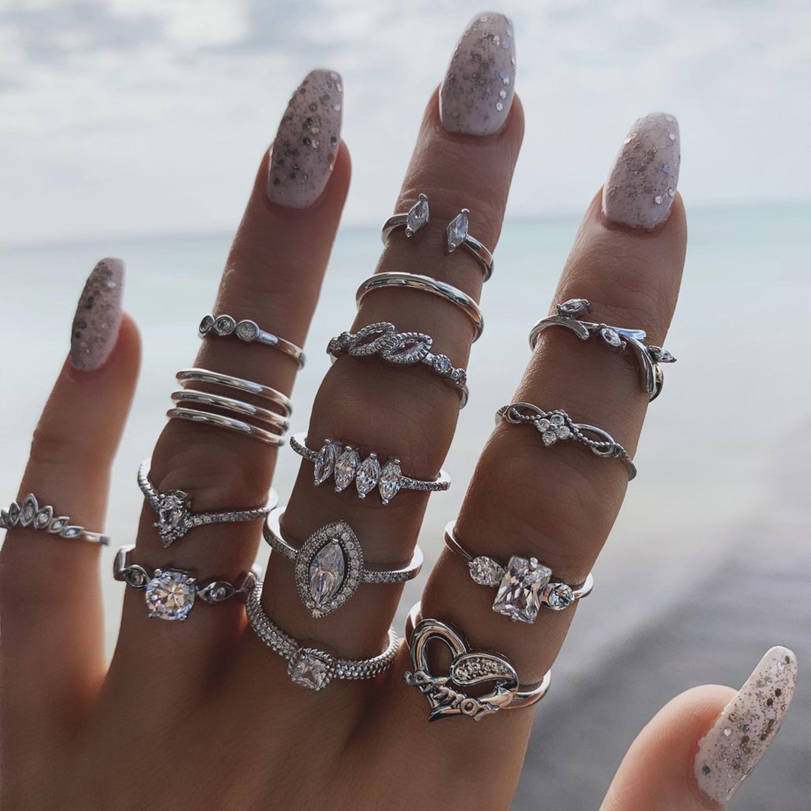 Модные женские кольца, винтажные богемные кольца из сплава, 15 шт., кольца с орнаментом для костюма, корейские Популярные Кольца для женщин и ...