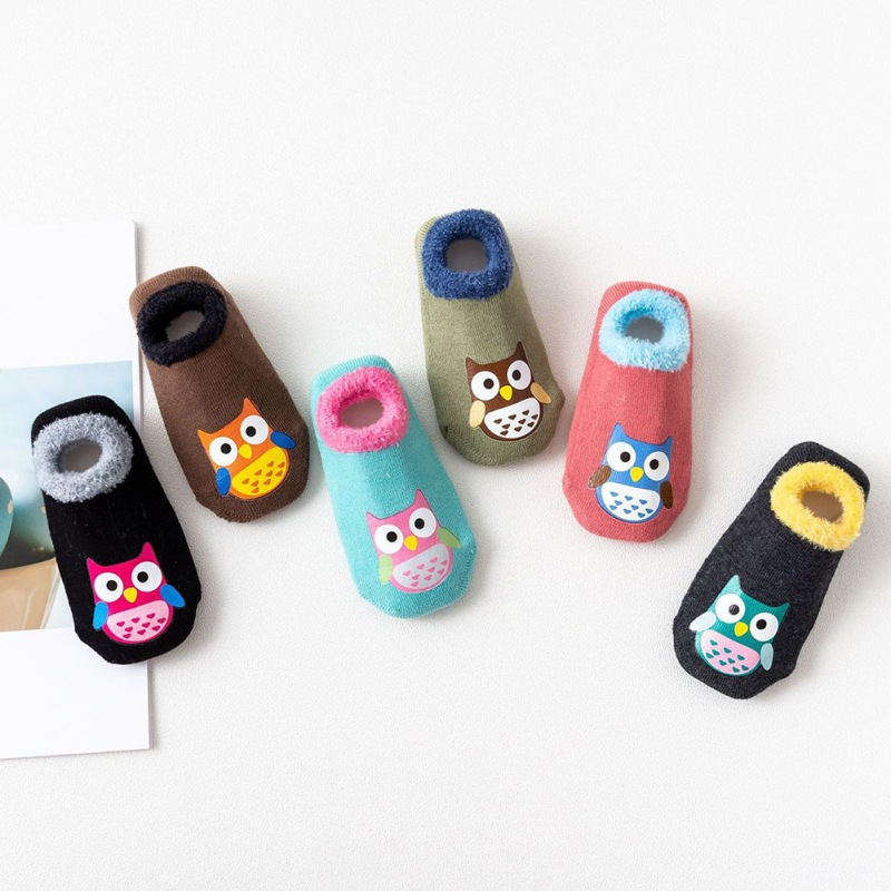 Baby Socks Autumn Winter Casual Fashion Children's Cute Cartoon Owl Non-Slip Cotton Floor Socks Kids Slippers