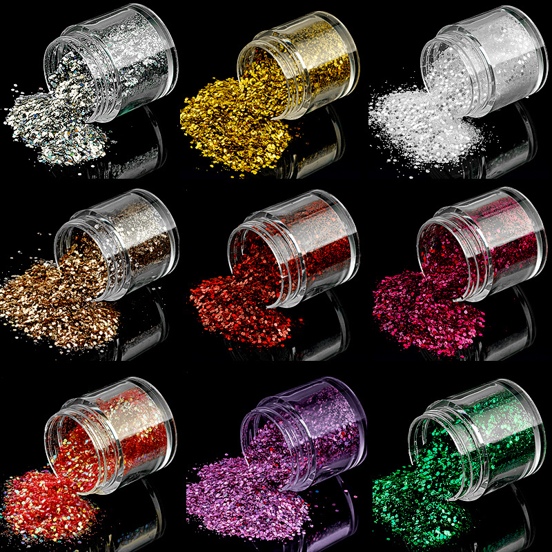 Foreign Trade Manicure Nail Sequins Fine Powder Shimmering Powder Nail Sticker Sequin Pearly Lustre Sequins Glittering Powder Pe