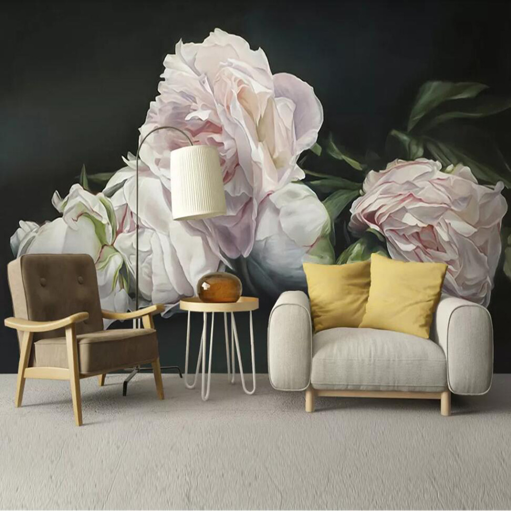 Drop Shipping Custom 3D Wallpaper Mural Modern Minimalist Hand-painted Floral Living Room Wall Decoration Wallpaper Mural