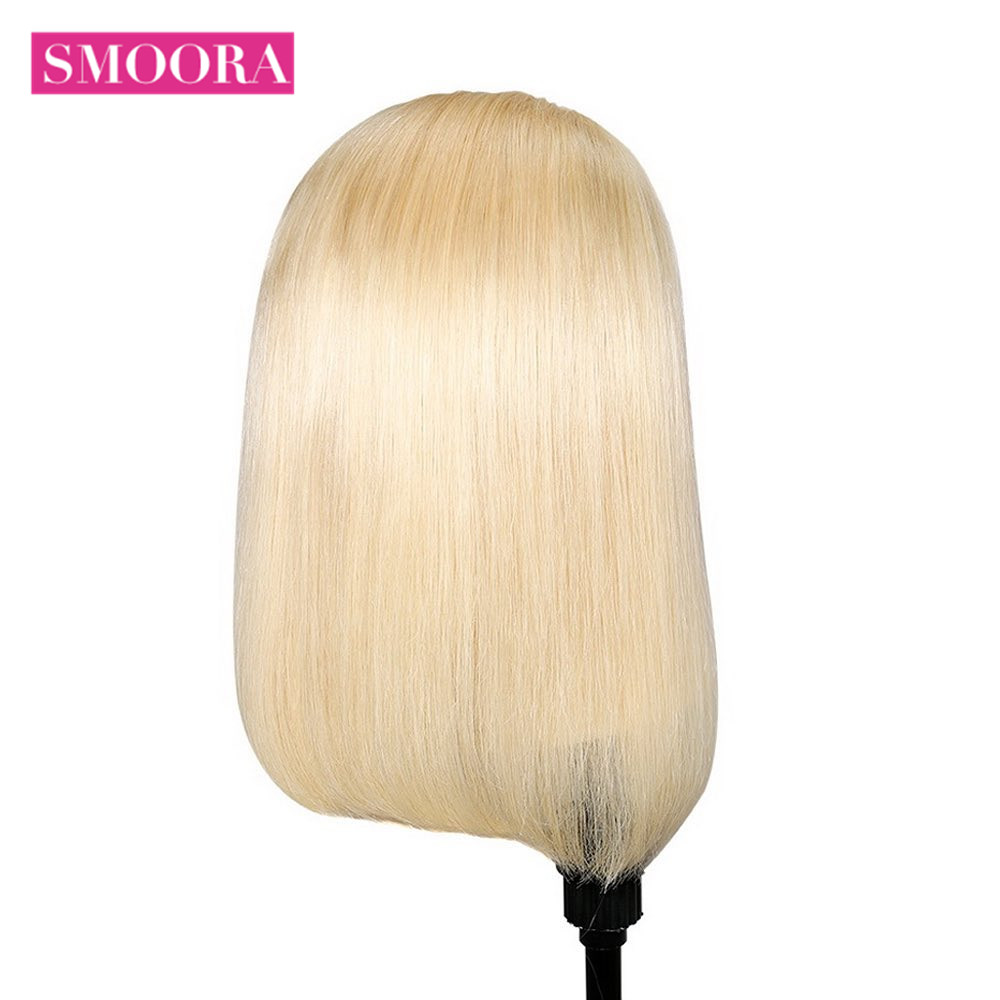 613 Blonde Bob Wigs Transparent 13x4 Lace Front Short  Bob Wigs  Straight  Hair 150% Density 16 inch 4