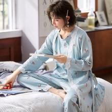 3PCS/Set Printed Cotton Maternity Nursing Sleepwear Breastfeeding Pajamas for Pregnant Women Pregnan