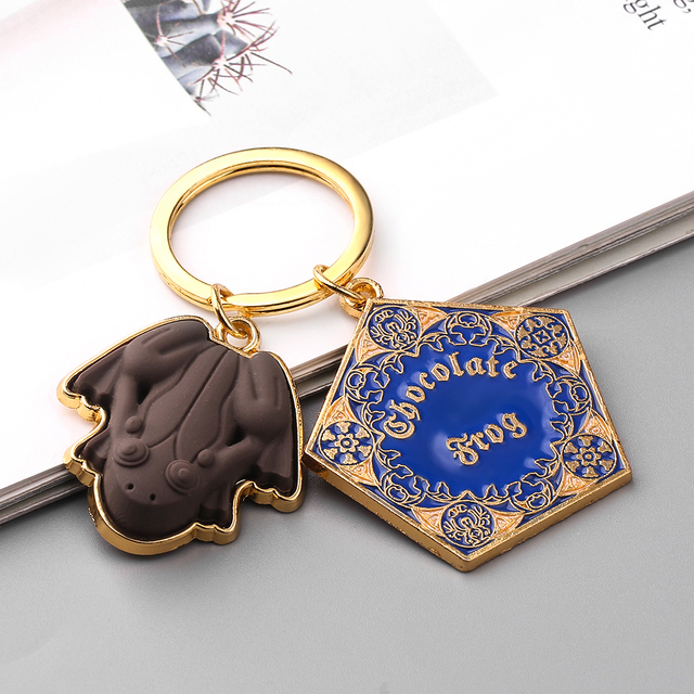 Wholesale 10 pcs/lot Movie Potter Frogs Chocolate Keychain Platform Pendant Key Chains for Women Men Cosplay Jeweley Gift