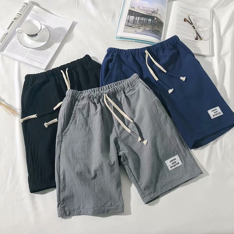 Summer New Style Men's Fashion Casual Sports Pants Flax Quick-Dry Shorts Straight-Cut Thin Beach Shorts Trend Casual Shorts