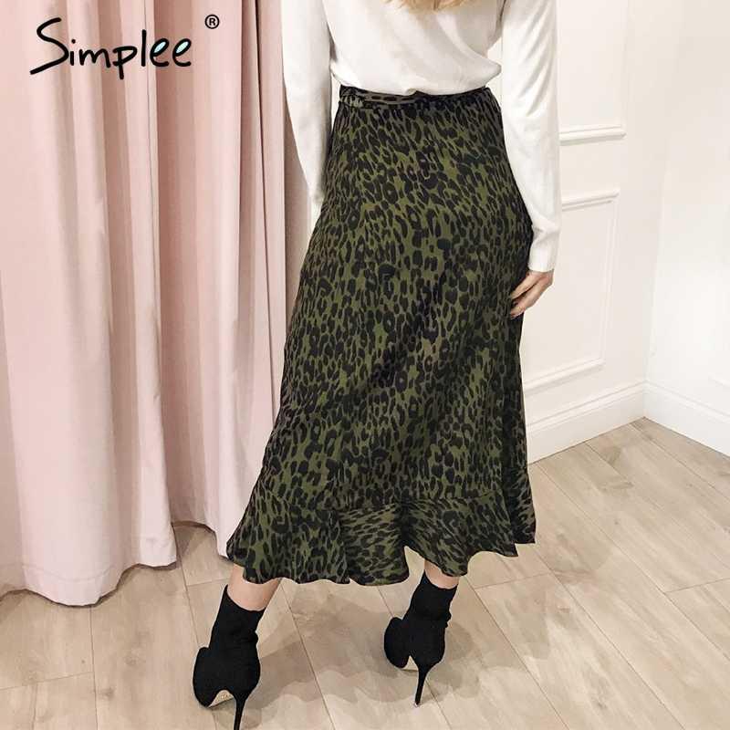 Simples leopardo impressão feminina maxi saia elegante cintura alta lado laço feminino saia longa outono babados assimétrico senhora saias