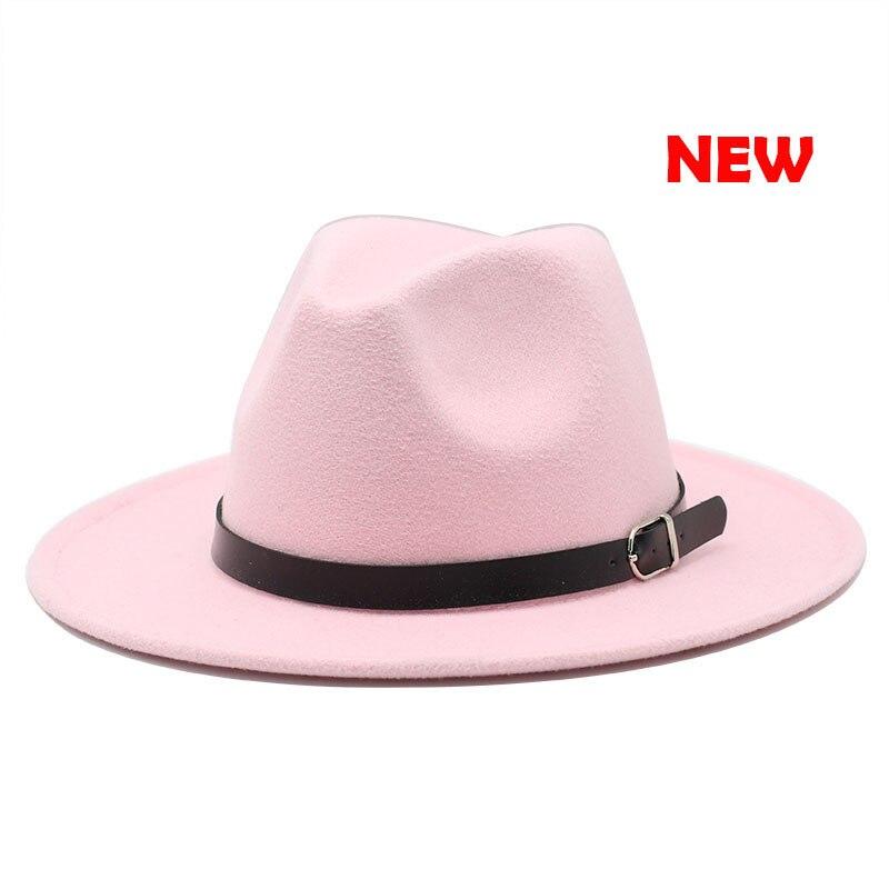 Classic British Fedora Hat Men Women Imitation Woolen Winter Felt Hats Fashion Jazz Hat Chapeau Wholesale 17
