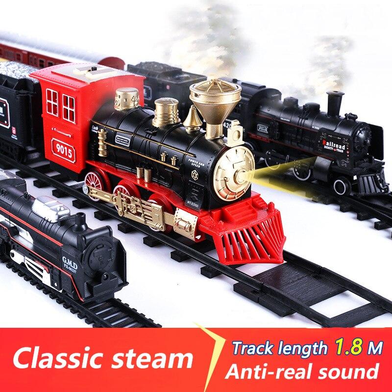 Simulation Train de piste électrique modèle classique jouet Train à grande vitesse Vintage Train à vapeur lumière voiture jouets pour garçons enfants 19035E