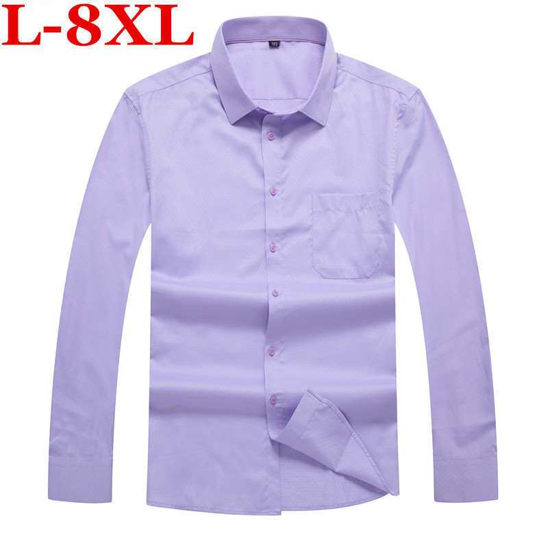 Plus Size  8XL 6XL 5XL New Arrival Brand Solid Shirt Men Sping Autumn Slim Fit Dress Casual Long Sleeve Shirt Male Camisas