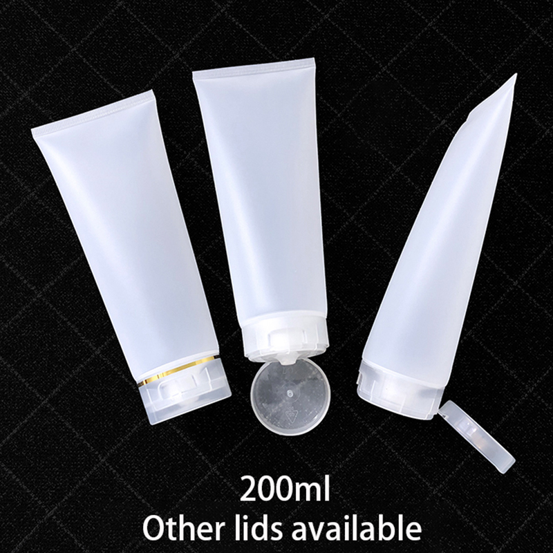 200g Empty Squeeze Tube 200ml Plastic Cosmetic Container Hair Gel Lotion Cream Packaging Clear Frost Matte Bottle Free Shipping
