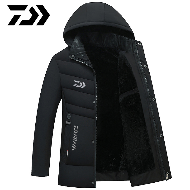 Daiwa Winter Fishing Jacket Overcoat Outerwear Coats Cotton Warm Hooded Men's Keep Warm Windproof Jacket Coat Fishing Clothes