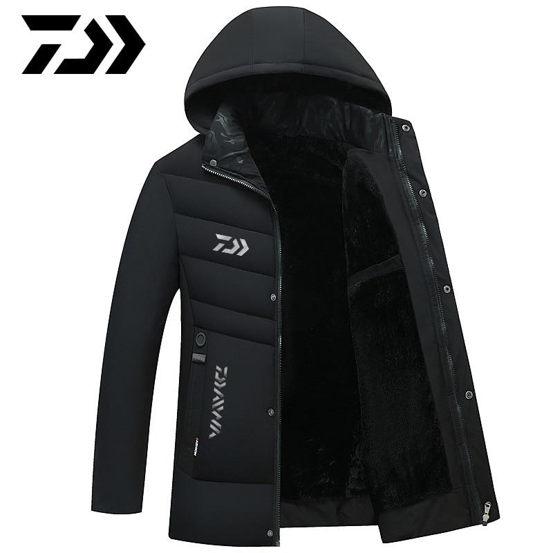 daiwa inverno jaqueta de pesca casaco outerwear casacos de algodao quente com capuz dos homens manter