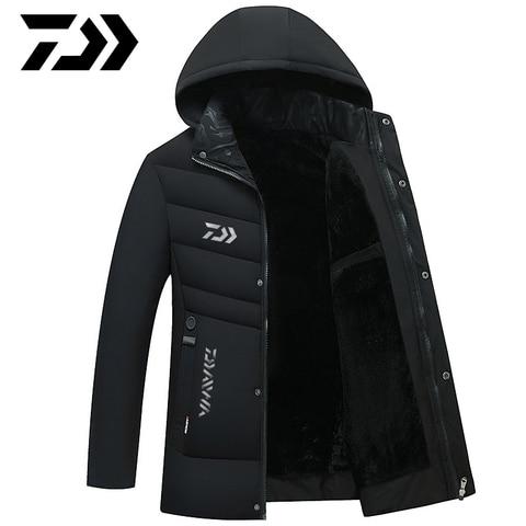 daiwa inverno jaqueta de pesca casaco outerwear casacos de algodao quente com capuz dos homens