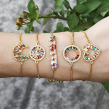 1Pcs Fashion Copper Charm Bracelets For Women Rainbow Micro Pave CZ Cubic Zirconia Geometric Adjustable Jewelry New Trendy Gift