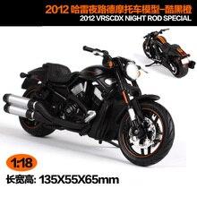 Maisto 1:18, Harley Davidson 2012, VRSCDX, varilla de noche, motocicleta especial, juguetes de metal en miniatura para niños, regalo de cumpleaños, colección de Juguetes