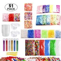 51 упаковка, Набор для изготовления слизи, цветной пенопластовый шар, гранулы, плоские бусины, золотой порошок, конфетная бумага, полимерная ...