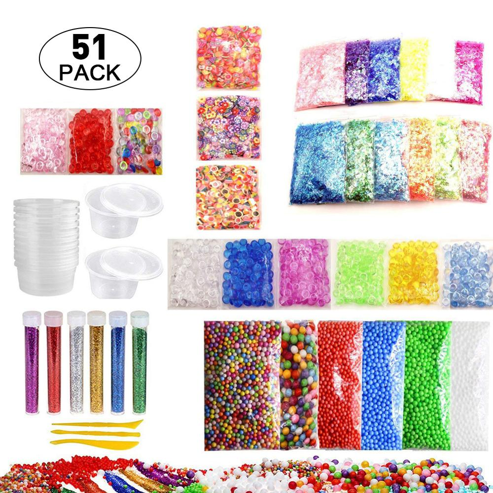 52 Pack Slime Making Kit Colorful Foam Ball Granules Flat Beads Gold Powder Candy Paper Polymer Clay Set Childrens DIY Material