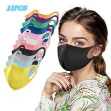11pc adulto gelo máscaras de boca de seda para mulher homem capa de rosto lavável reutilizável boca-muffle respirável mascarilla máscara facial