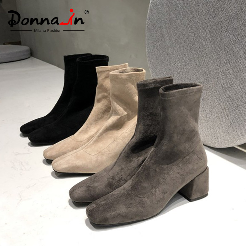 Donna in Warm Elastic Flock Autumn Winter Boots For Women Solid Slip On Ladies Boots High Heels Casual Thick Plush Snow Boots-in Mid-Calf Boots from Shoes    1