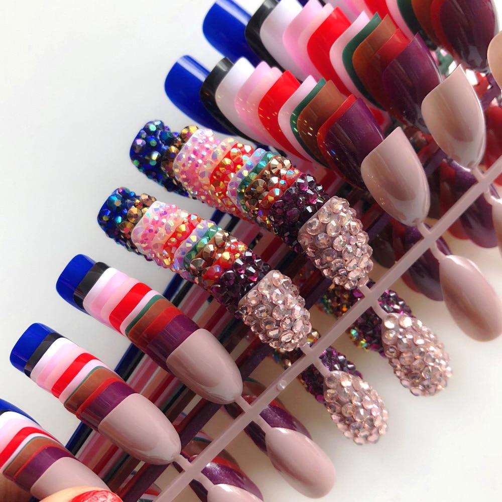 Wholesale 14Colors Custom Full Rhinestones Optional Sequins Stiletto Press Fake Nails On Artificial False Nails Art Decoration