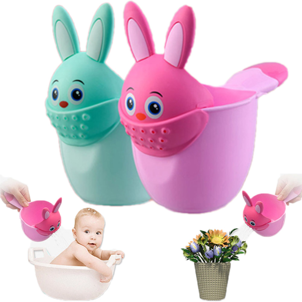 Newborn Child Shower Shampoo Cup Baby Cartoon Rabbit Shower Cup Baby Shower Water Spoon Bath Cup Watering Cup