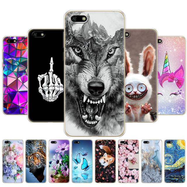 """case For Huawei Honor 7A Cases 5.45"""" inch Soft Tpu Phone Huawei Honor 7A 7 A DUA L22 Russian version Back Cover phone bag animal"""